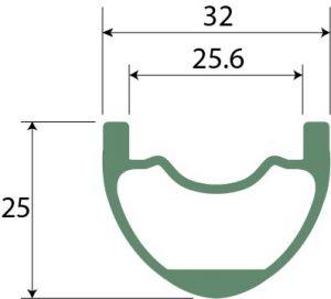 imeZiグラベル用 IM650B jariホイール のリム断面図