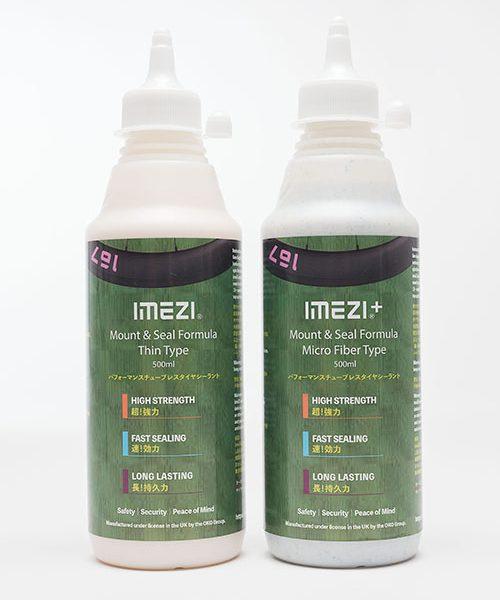 タイヤシーラント は2種類で、サラサラタイプ「IMEZI」と粘り気タイプ「IMEZI+」です。
