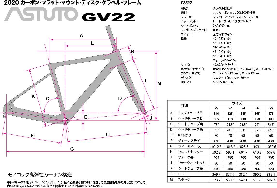 Astutoアドベンチャー/グラベルフレームセット GV22の寸法図